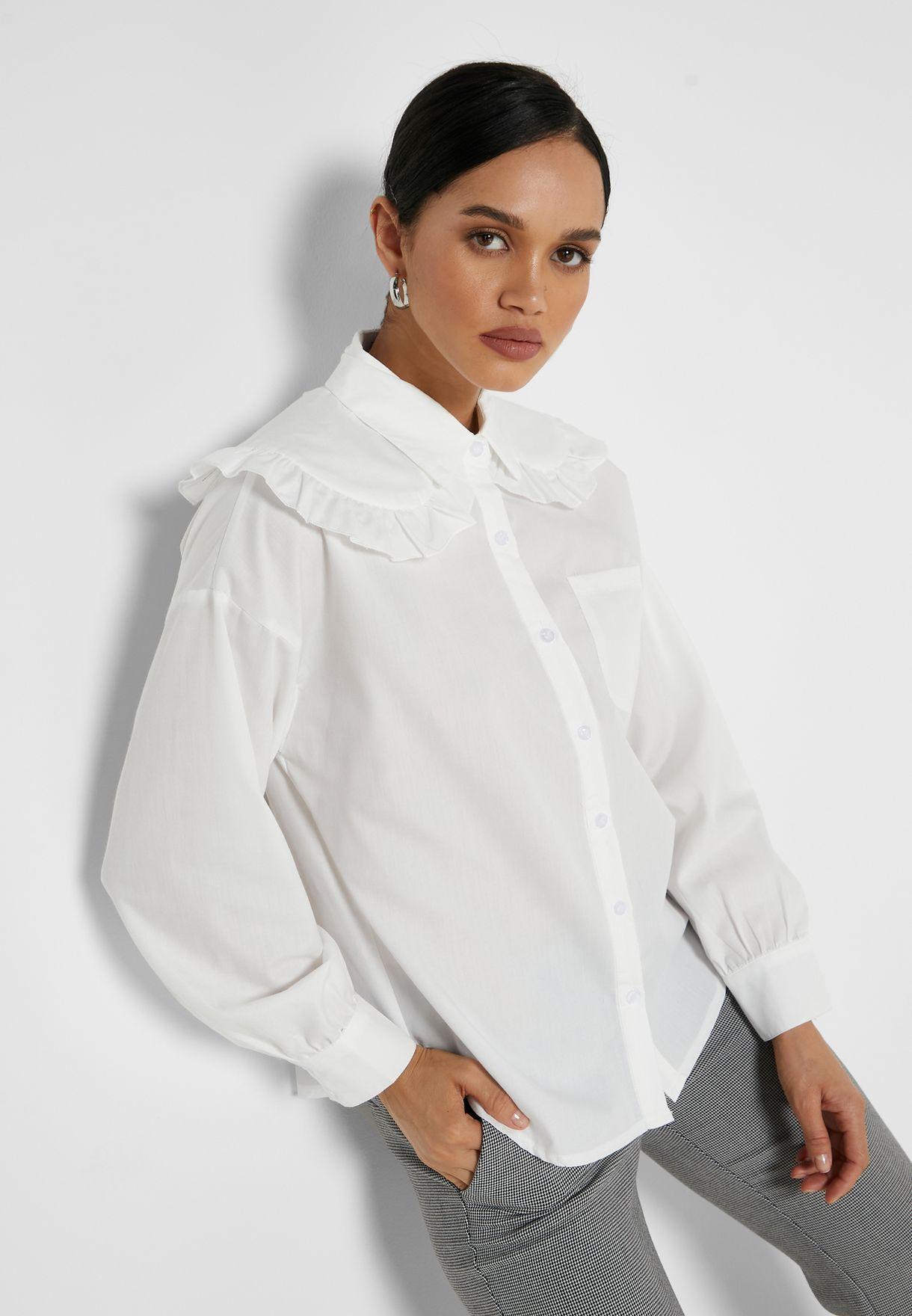 Ruffle Trim Collared Shirt