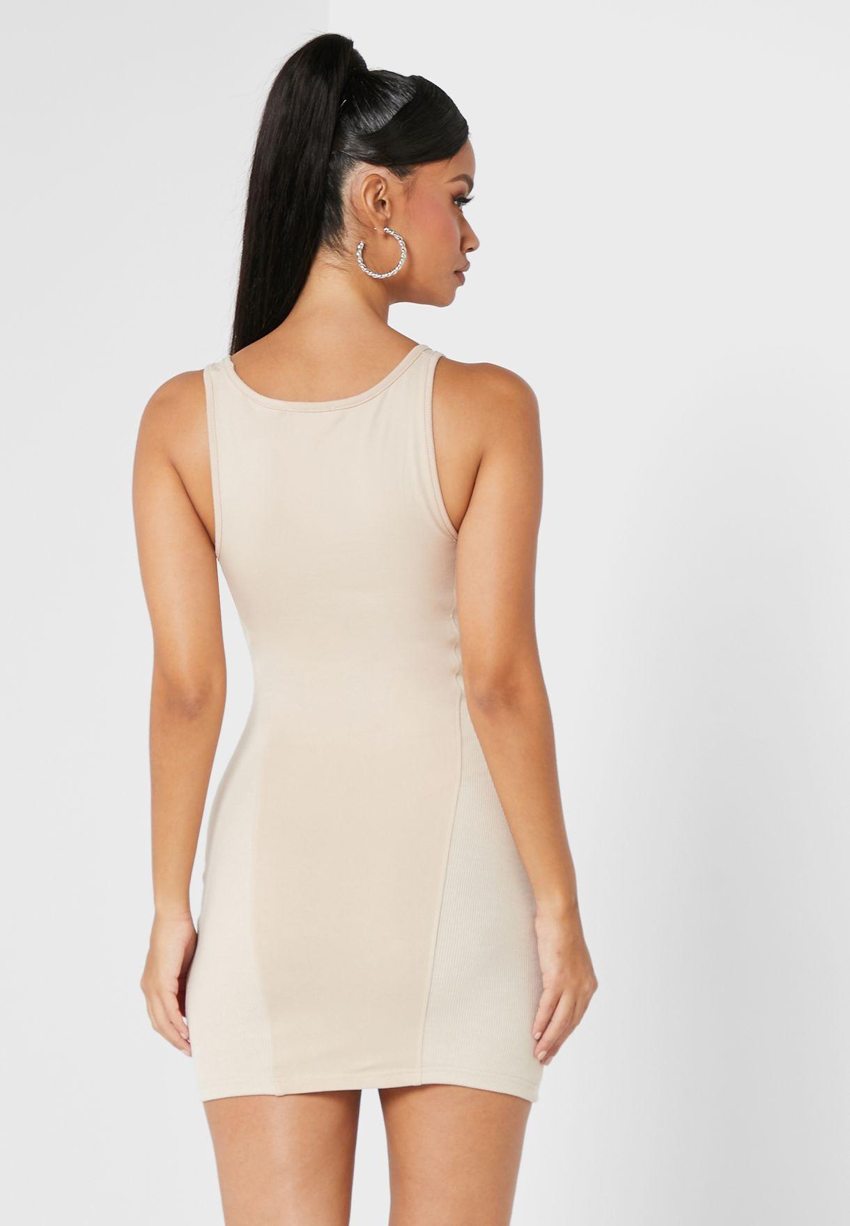 Square Neck Rib Splice Mini Dress