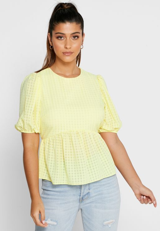 Puff Sleeve Plunge Peplum Top