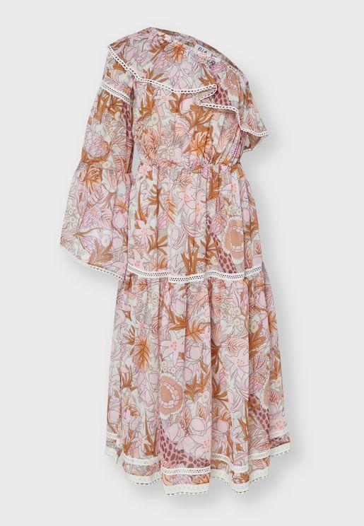 Printed Ruffle One Shoulder Midi Dress