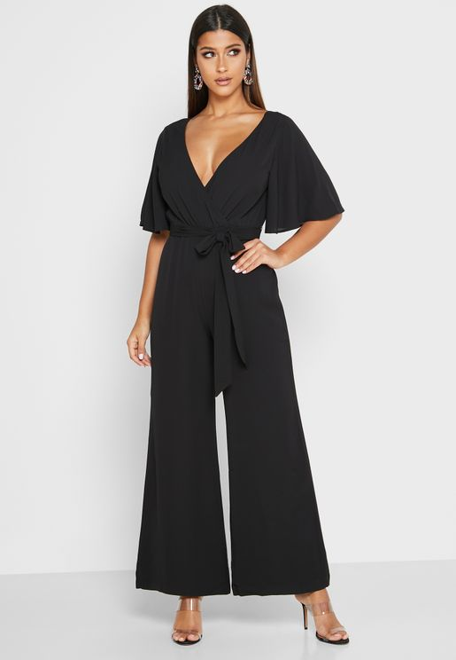 Plunge Back Wrap Jumpsuit