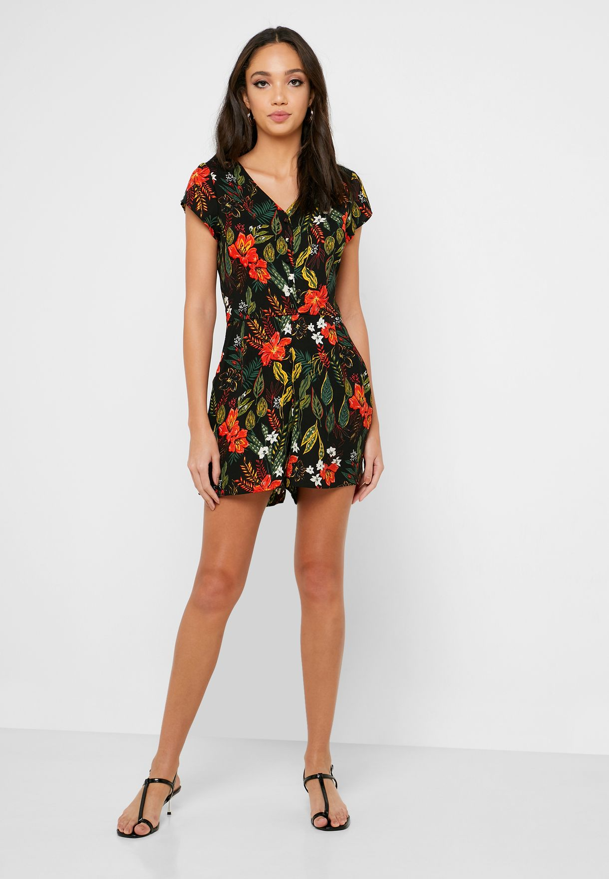 Button Down Printed Playsuit