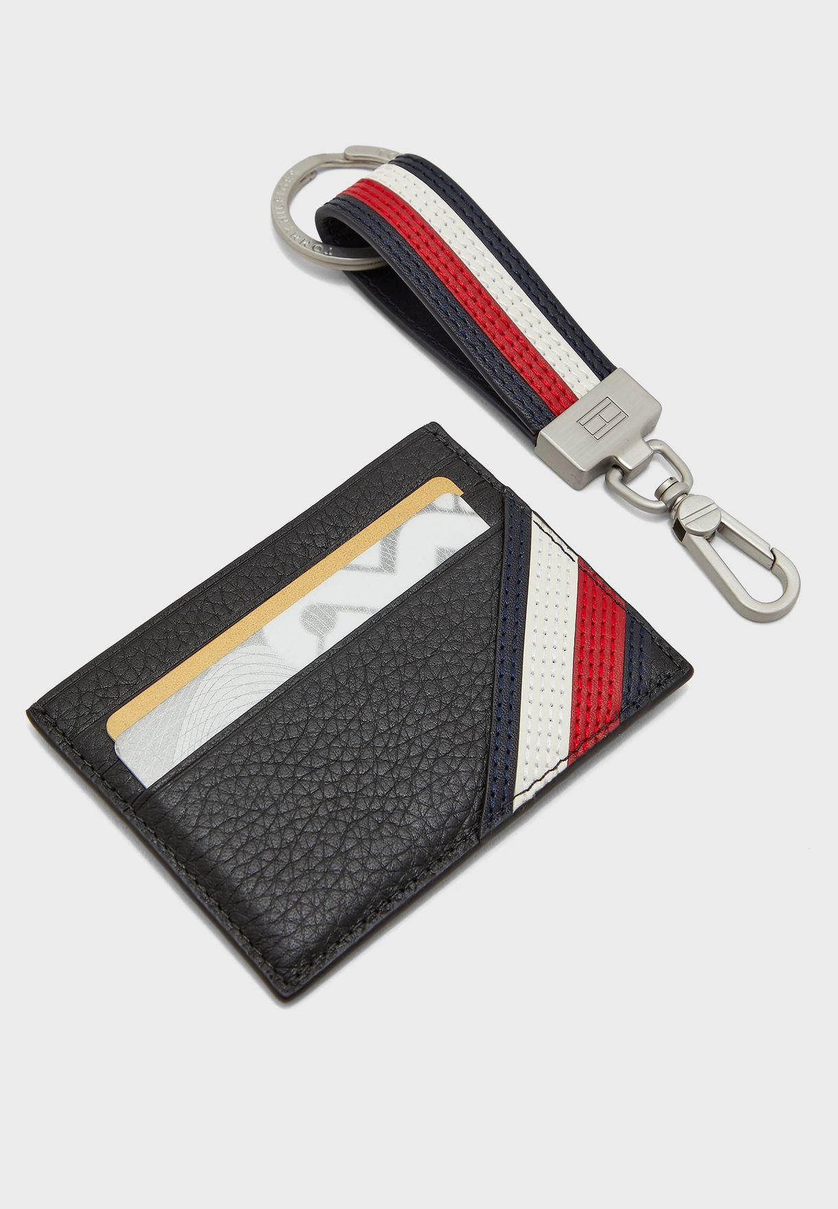 حافظة بطاقت جلد اصلي وحمالة مفاتيح