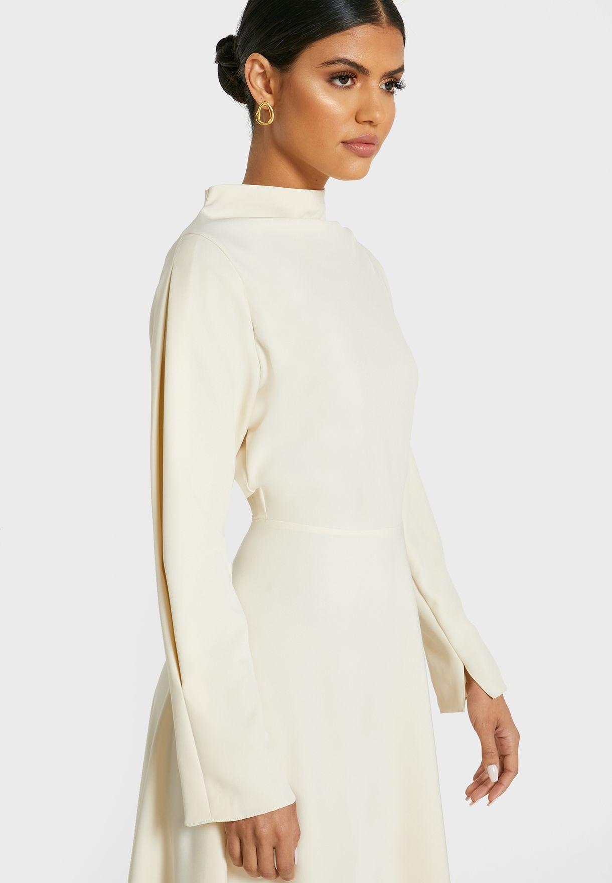 High Neck Long Sleeve Midi Dress
