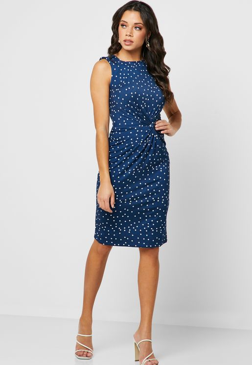 Front Twisted Printed Dress