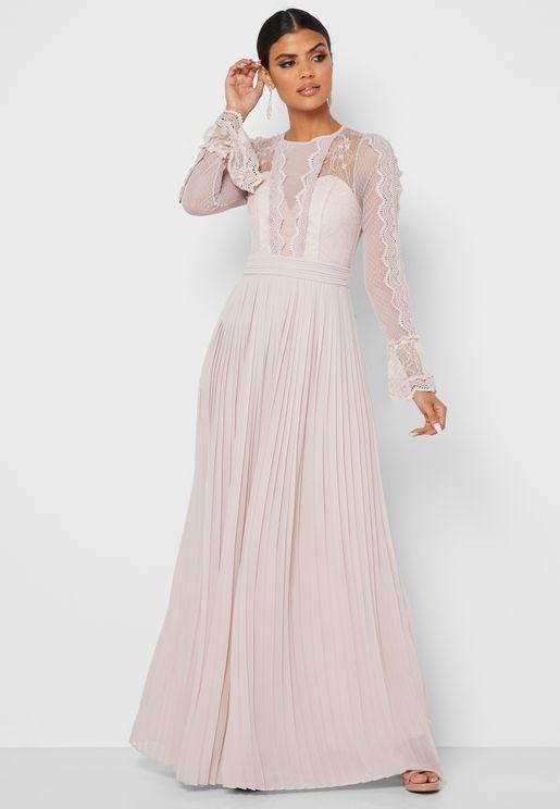 Flute Sleeve Lace Pleated Dress