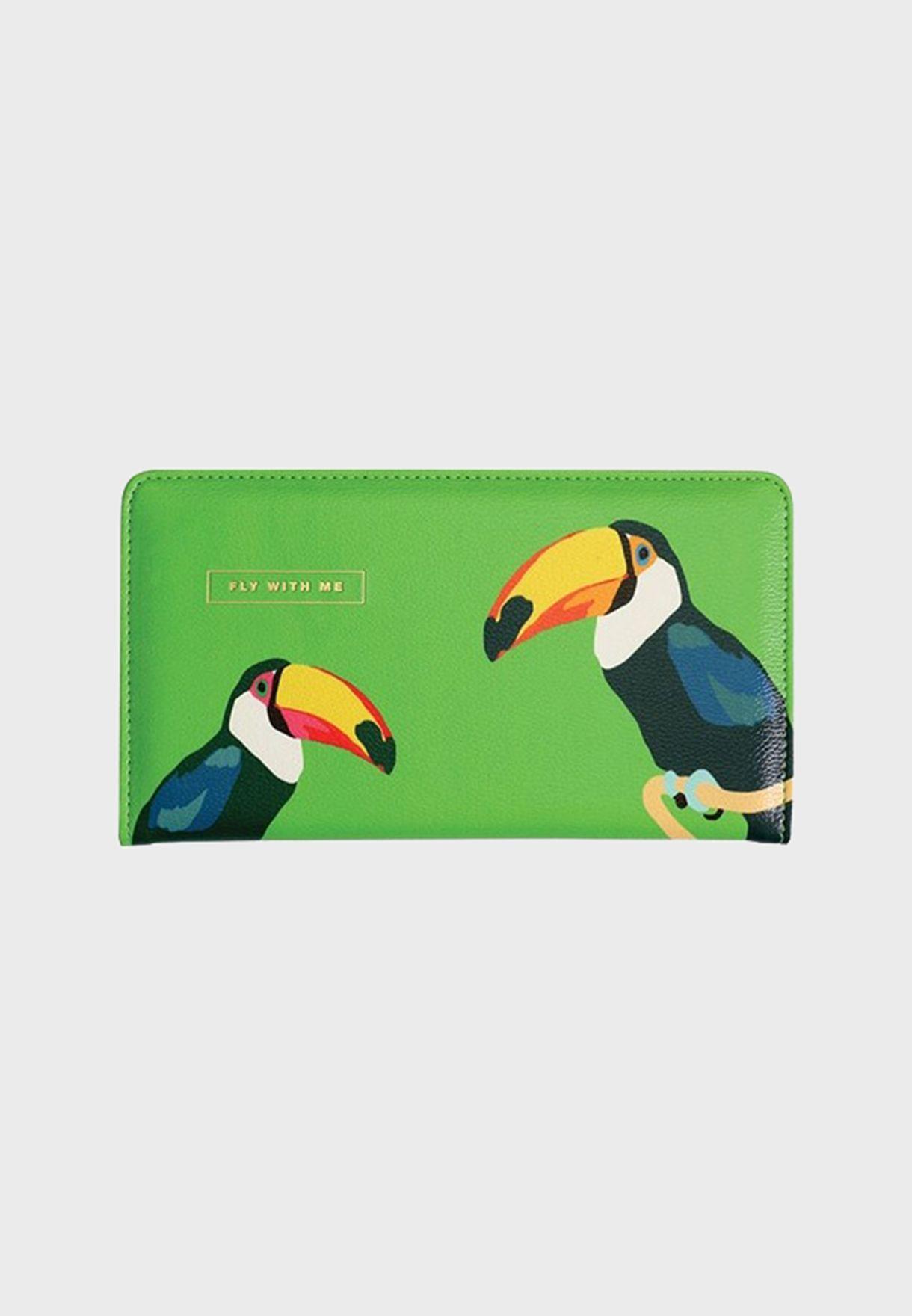 Birds Printed Travel Wallet