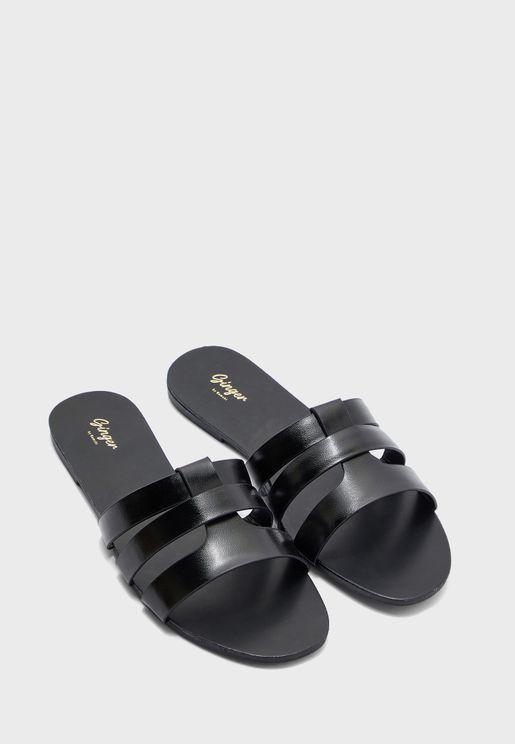 Triple Strap Detail Flat Sandal