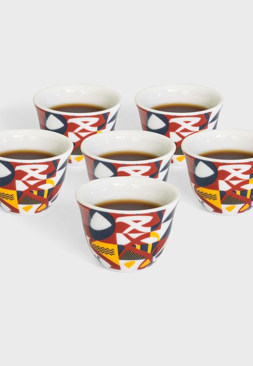 Abstract Arabic Coffee Cup x 6
