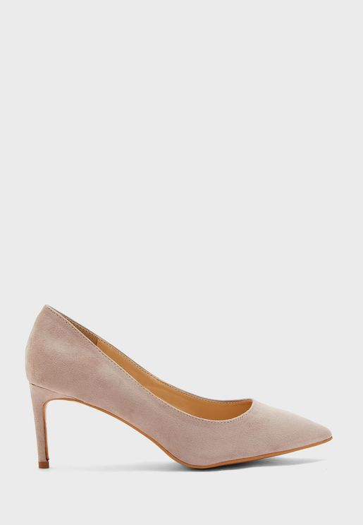 Faux Suede Kitten Heel Pump