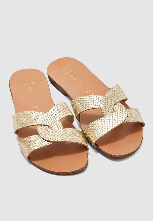Wide Fit Hot Leather Mule Sandal - Gold
