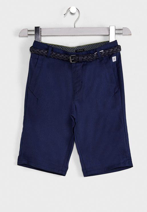 Youth Textured Shorts With Braided Belt