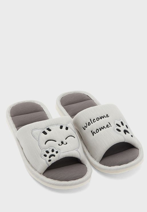 Cat Printed Bedroom Slippers