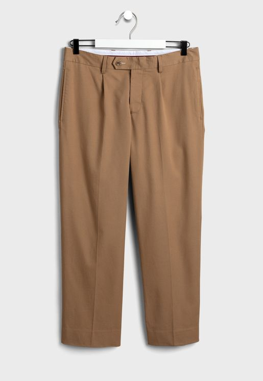 Straight Fit Pleated Trousers