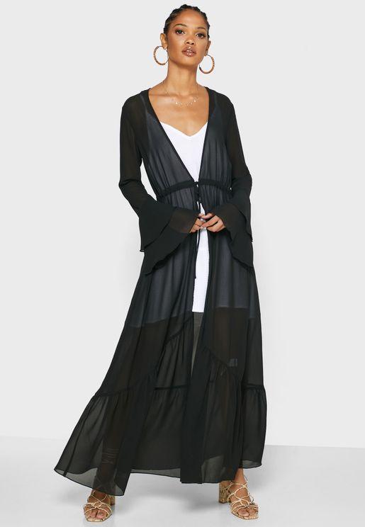 Flute Sleeve Longline Jacket