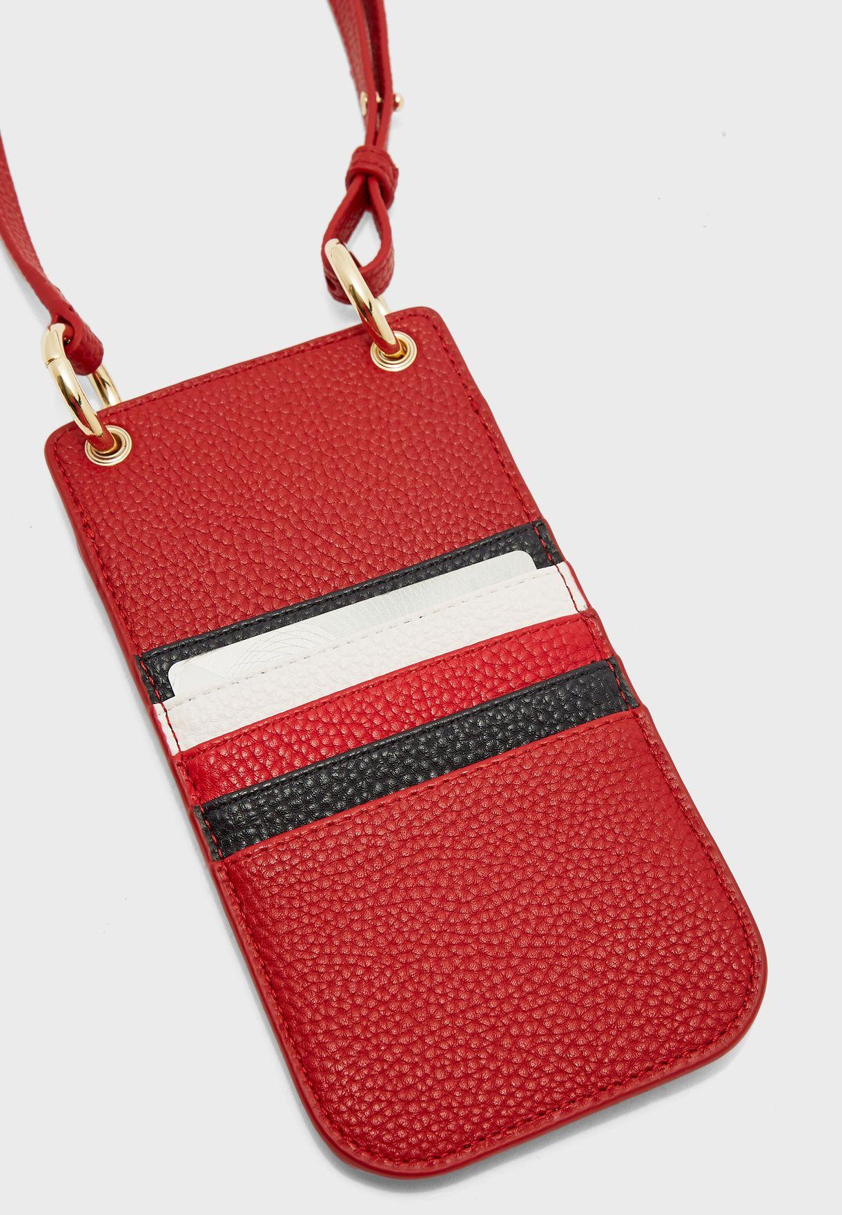 محفظة هاتف وبطاقات بحمالة كتف رفيعة