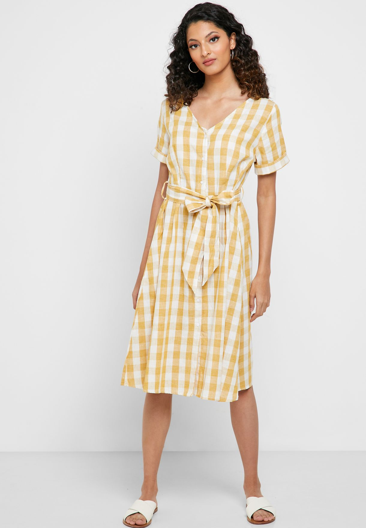 Gingham Self Tie Midi Dress
