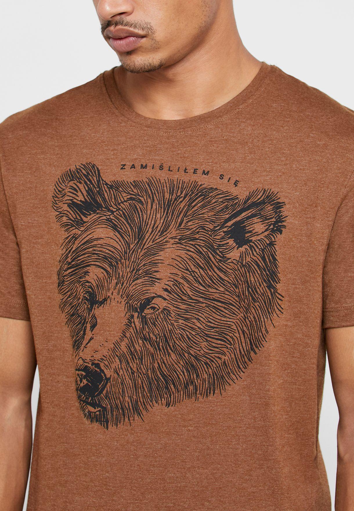 Bear Face Print Crew Neck T-Shirt