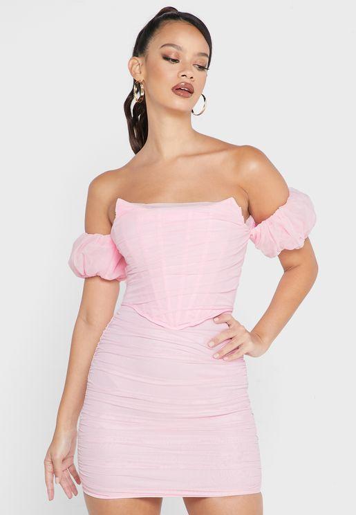 Mesh Bardot Corset Detail Mini Dress