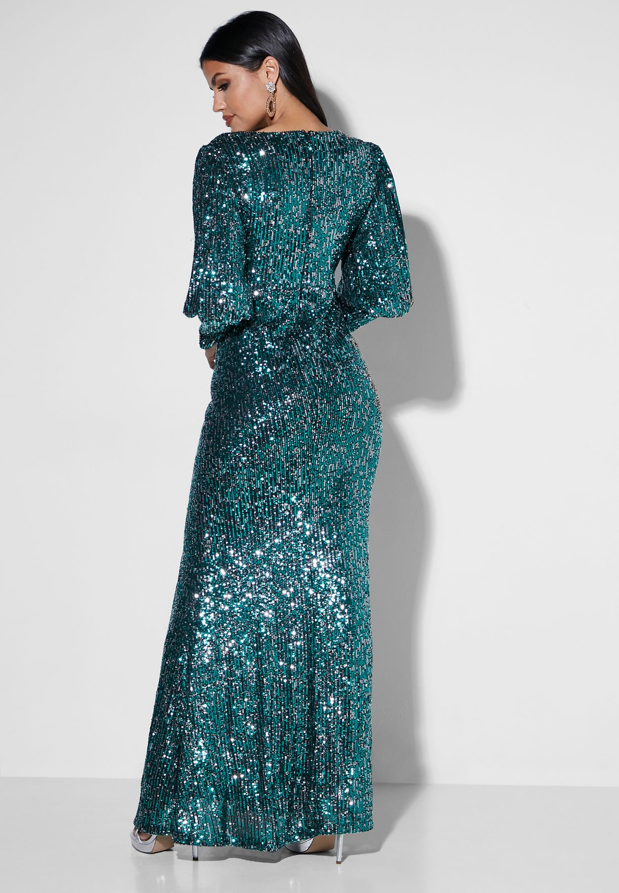 Puffed Sleve Sequin Maxi Dress