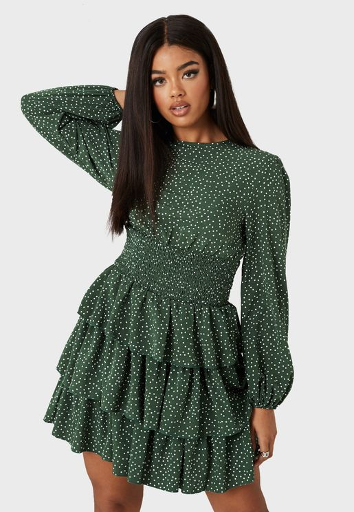 Shirred Waist Skater Dress