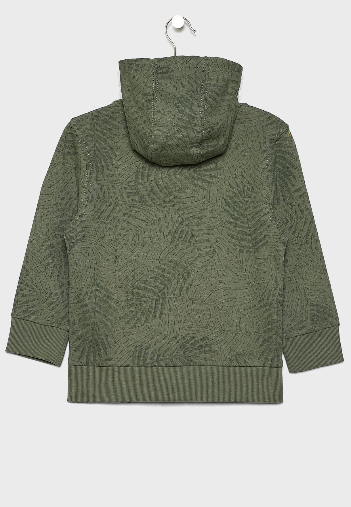 Printed Zip Through Hoodie