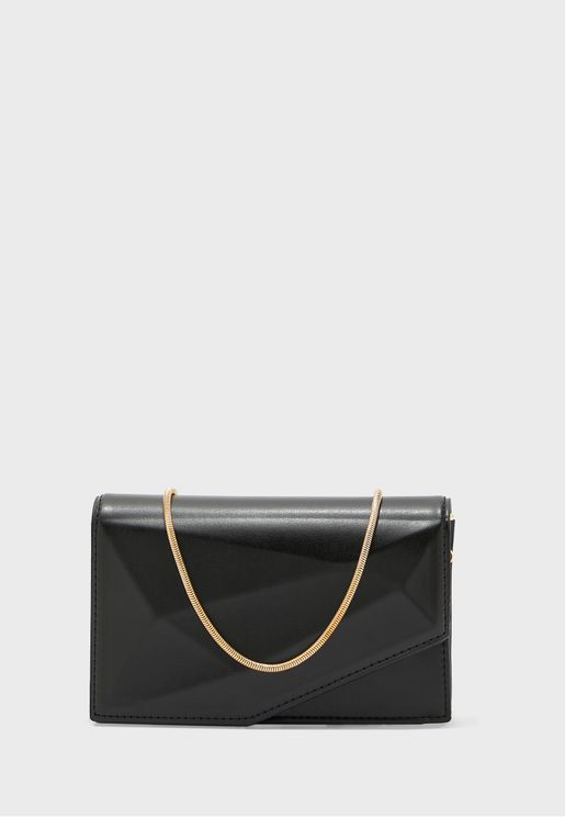 3D Facet Clutch Bag With Chain Strap