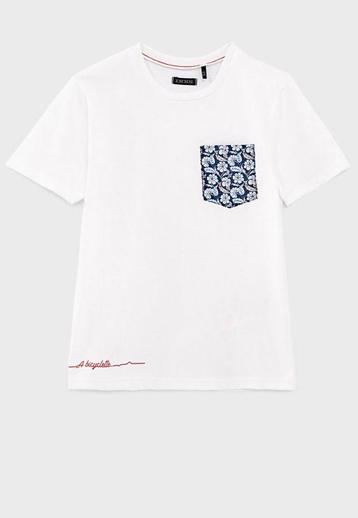 Kids Printed Pocket T-Shirt