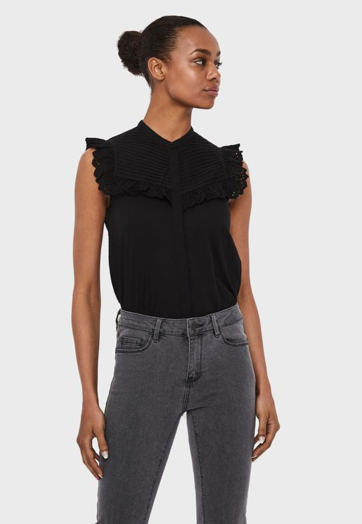 Lace Detail Overlay Shirt