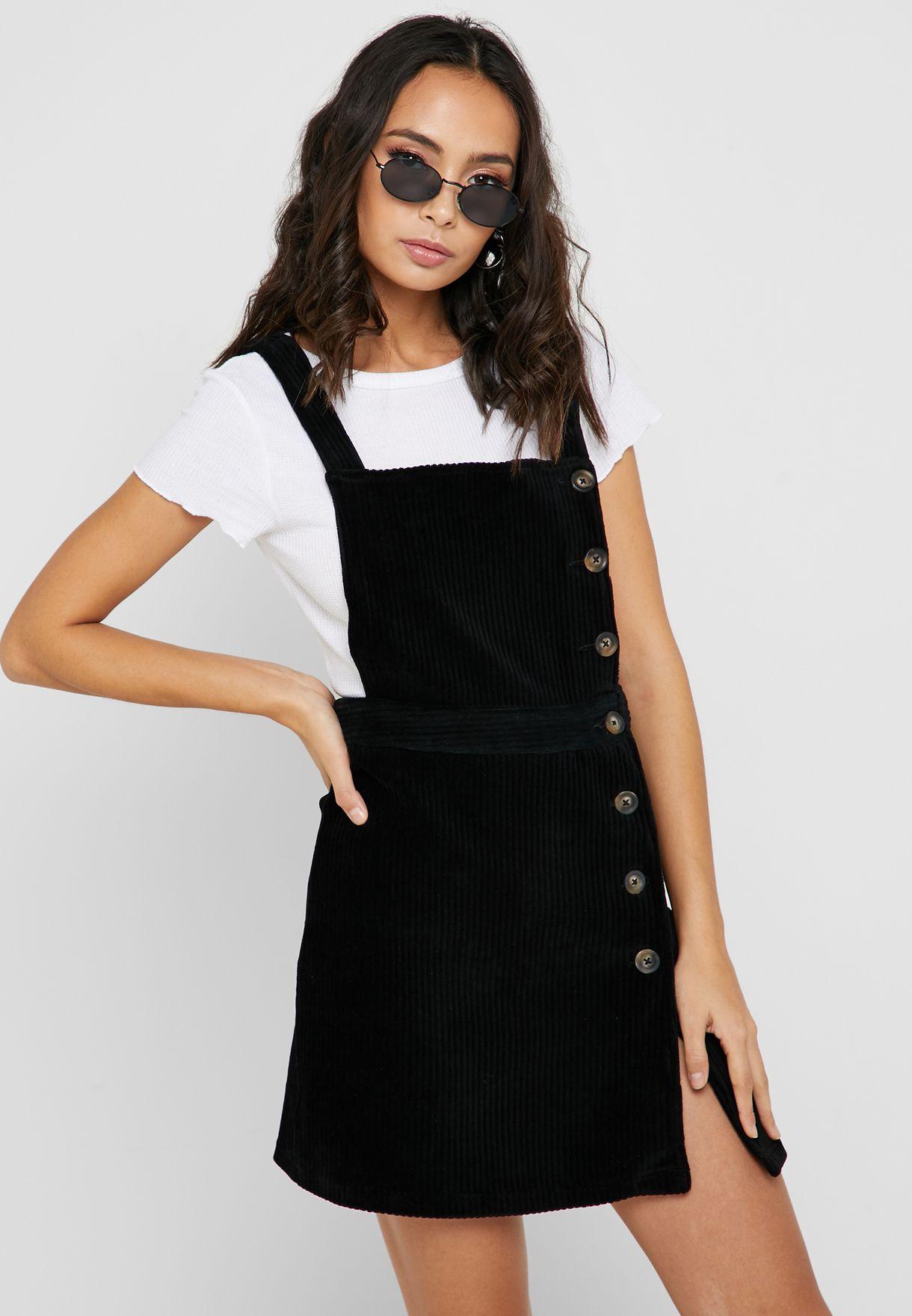 sells a few days away detailing Button Corduroy Pinafore Dress