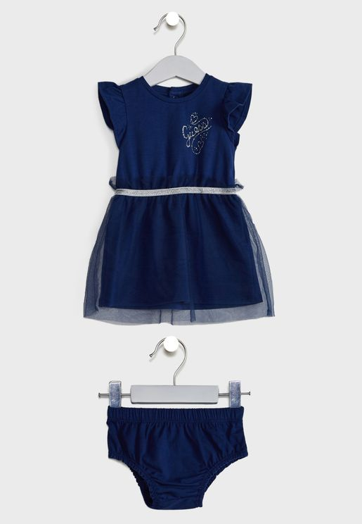Infant Ruffle Sleeve Dress + Knicker Set