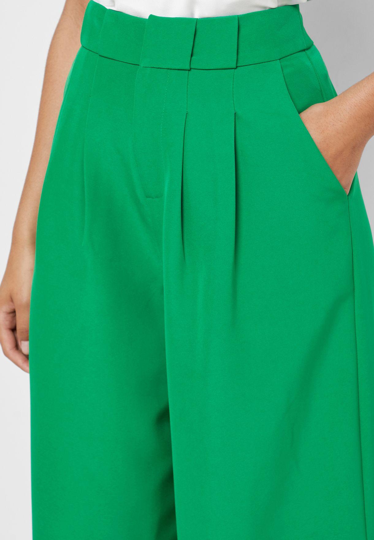 Buy English Factory Green High Waist Wide Leg Pants For Women, Uae 18832at14cap