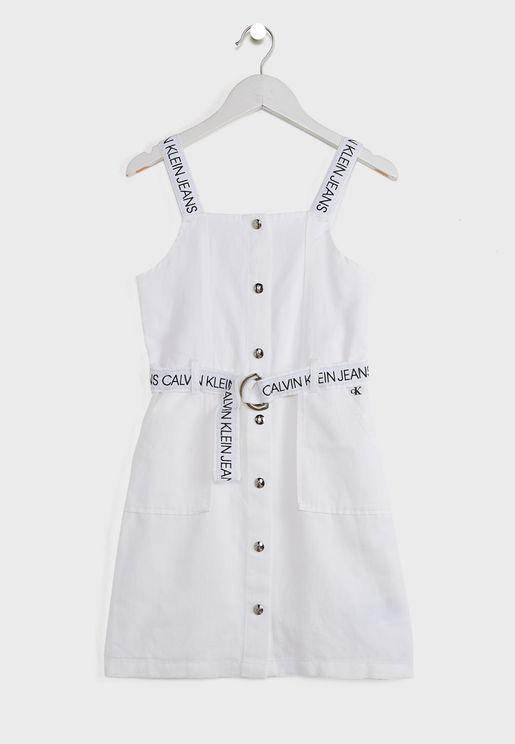 فستان ميدي بياقة مربعة