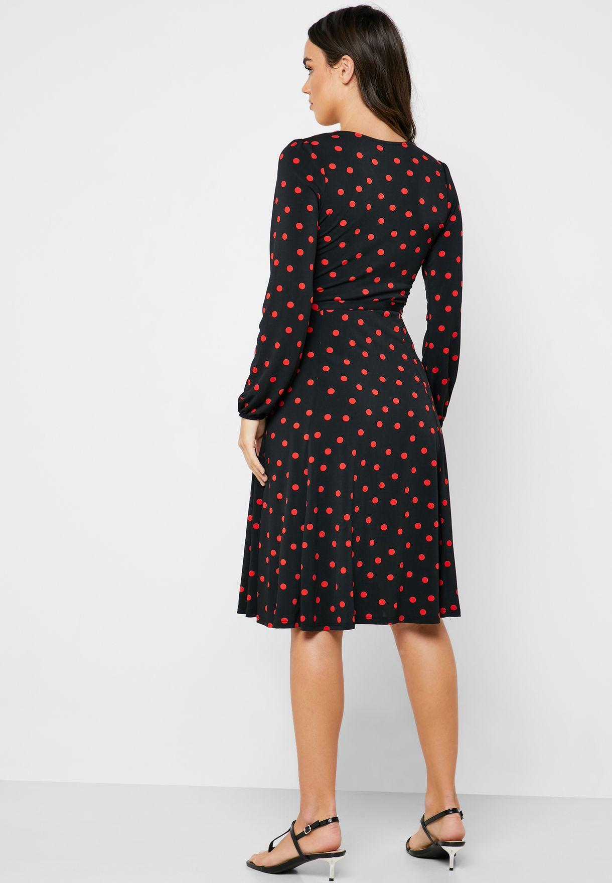 Dot Print Wrap Dress