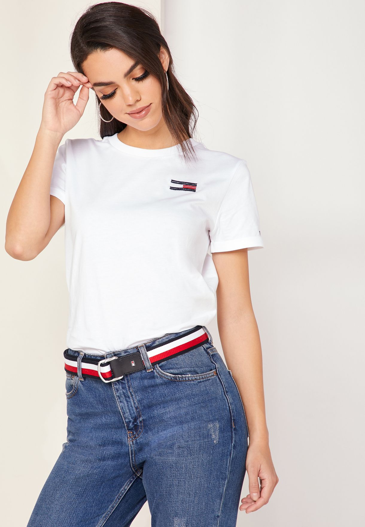 98261a55 Shop Tommy Hilfiger white Talita Crew Neck Embroidered T-Shirt ...
