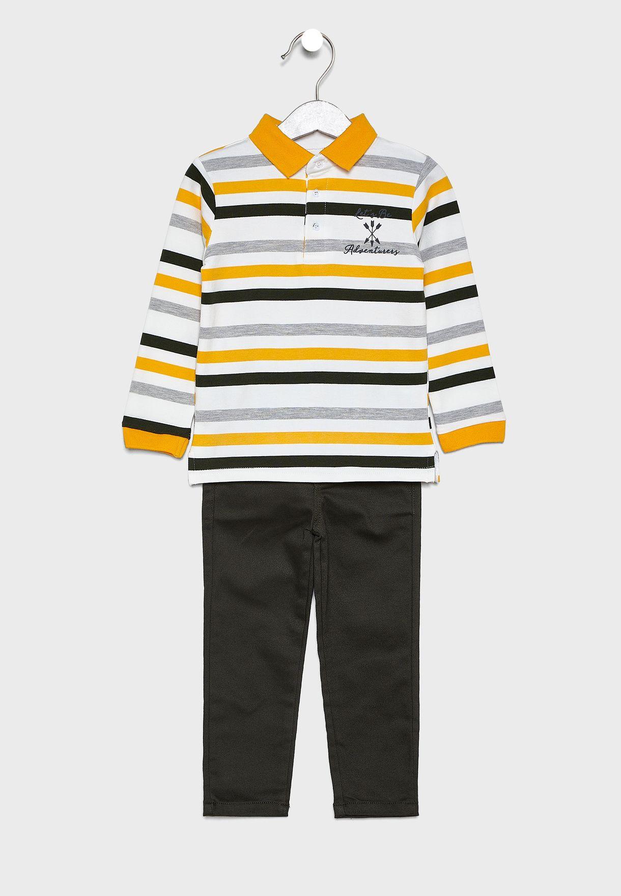 Little Striped T-Shirt + Jeans Set