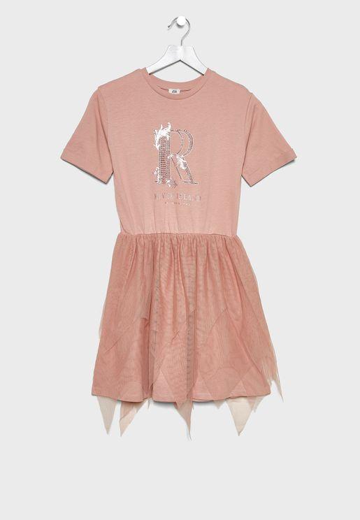 Kids Tulle Hem Dress