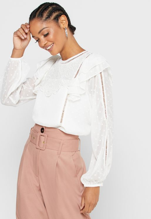 Ruffle Detail Overlay Top