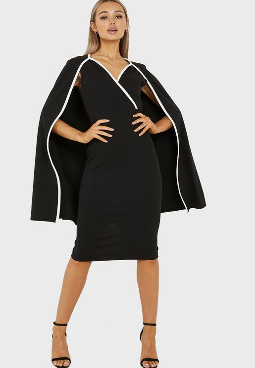 Pipe Cape Detail Midi Dress