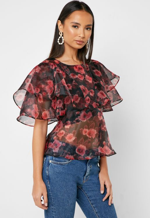 Floral Print Overlay Mesh Top