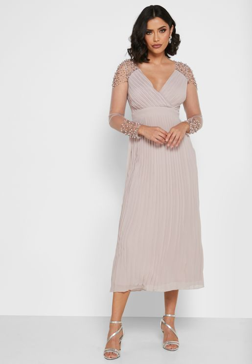 Pleated Surplice Dress