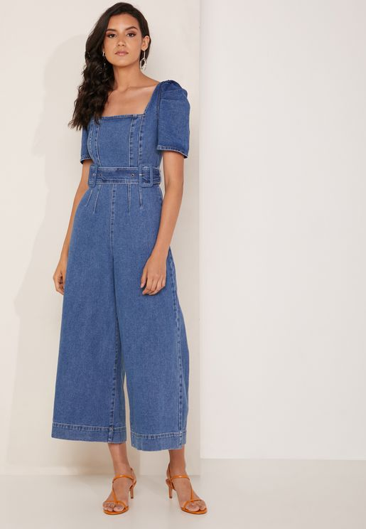 Belted Ruched Sleeve Denim Jumpsuit