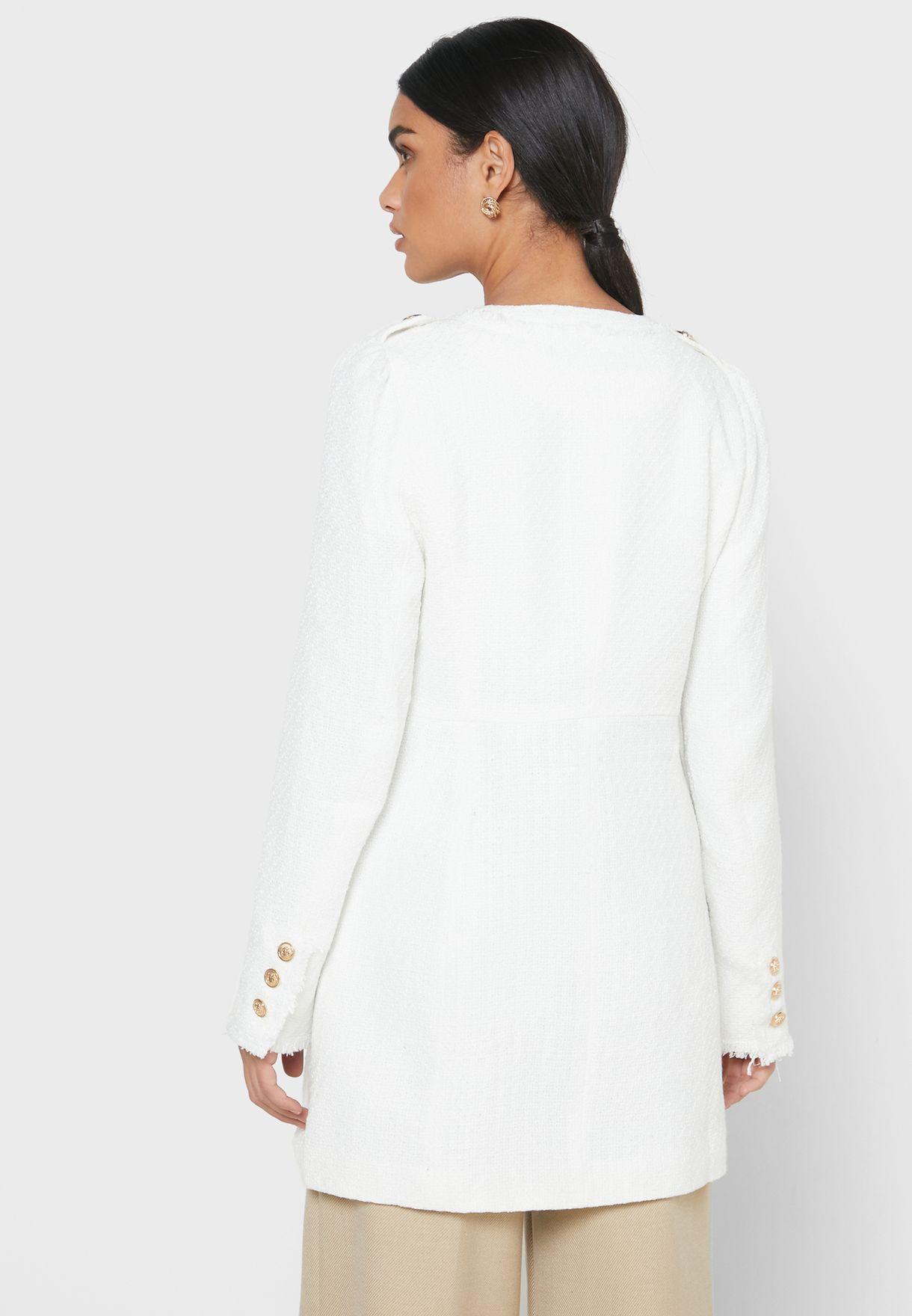 Tweed Button Detail Coat