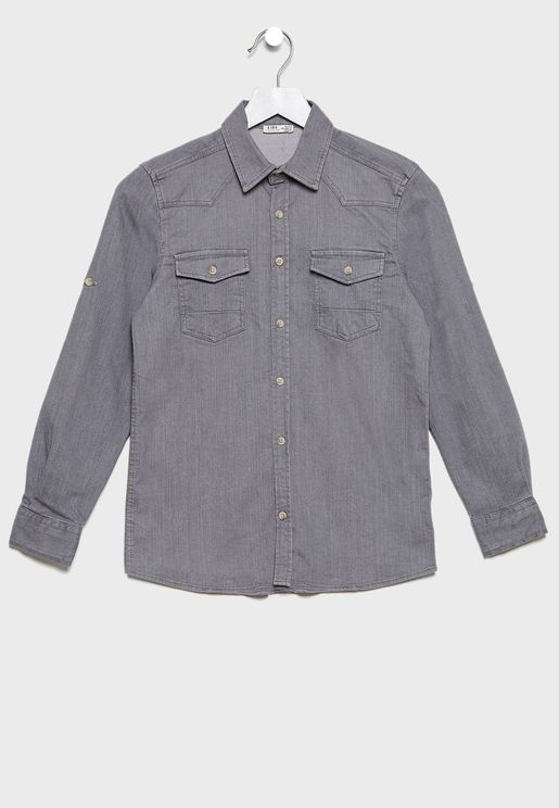 Kids Pocket Detail Shirt