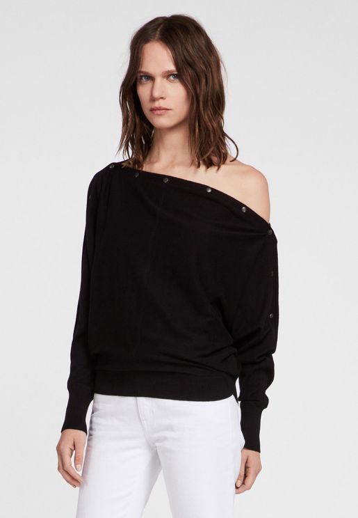 Elle Button Detail Bardot Sweater