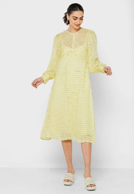 Sheer Frill Midaxi Dress