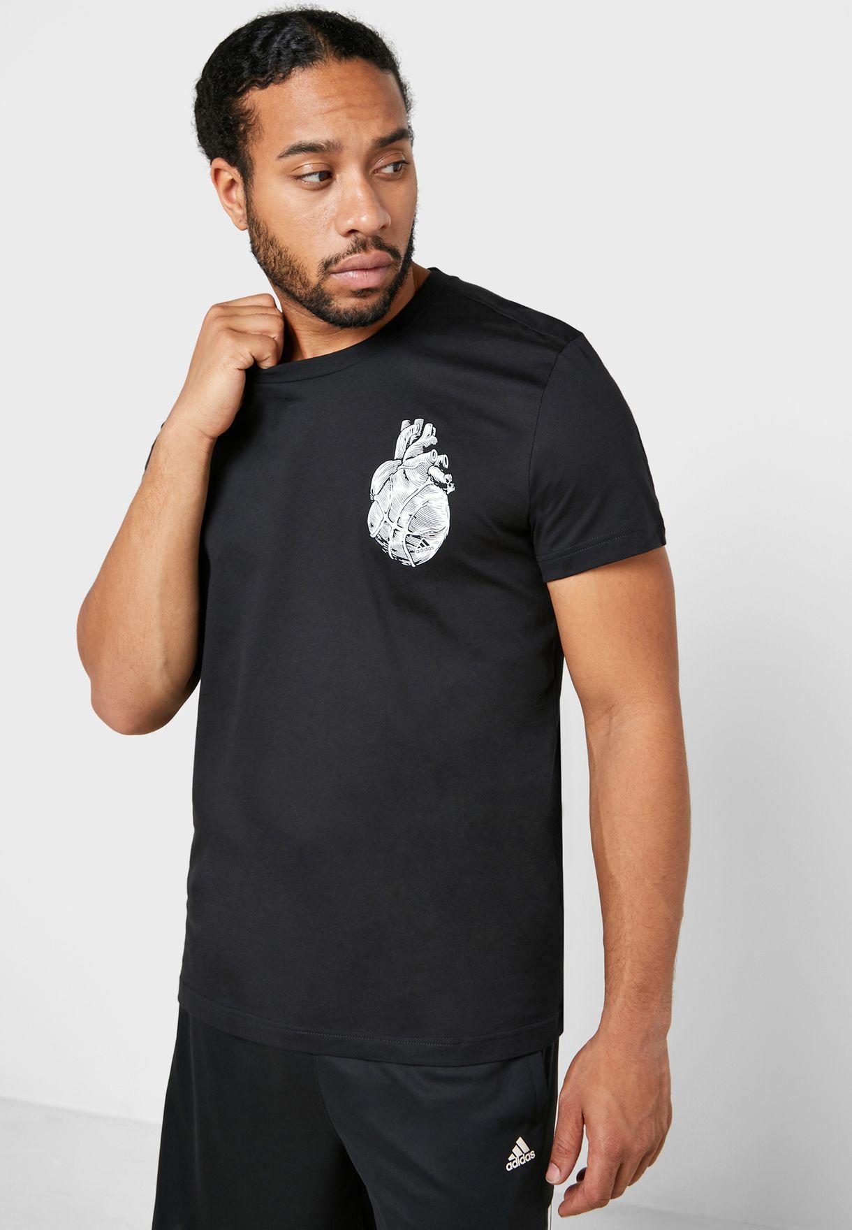 Disgusto negro Converger  Buy adidas black Heart T-Shirt for Men in MENA, Worldwide | FM4973