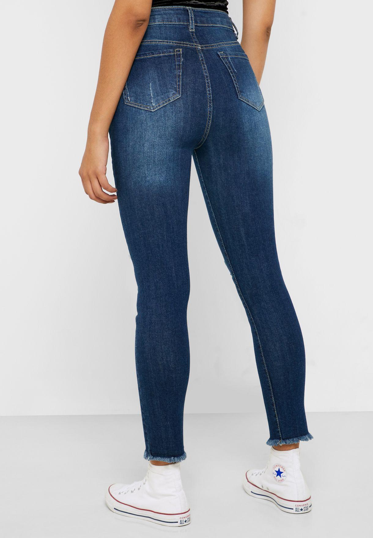Distressed High Waist Skinny Jeans