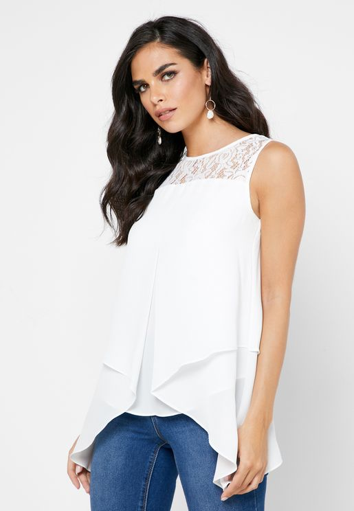 Lace Detail Layered Top