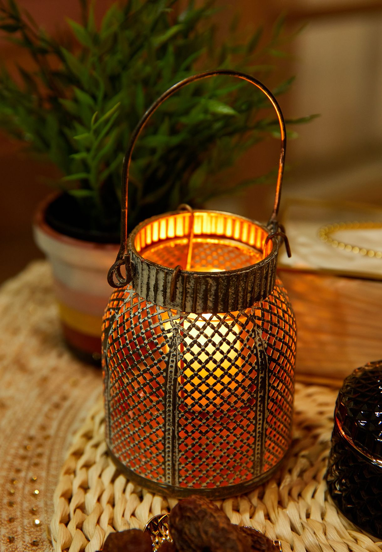 Gold Lantern Candle Holder